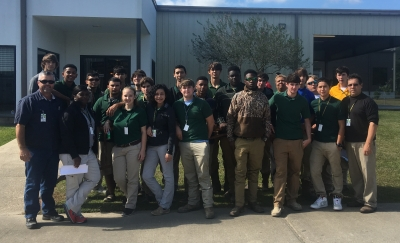 Welding Instructor Randy Jarreau, High School Guidance Counselor Wykesha Young Bradley, Assistant Principal Angelle Gosserand and Agriculture Instructor Clayton Chenevert with the participants from LHS