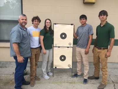Welding Instructor Randy Jarreau, Trent Bergeron, Samantha Hawkins, Fausto Mejia, and Colby Bergeron