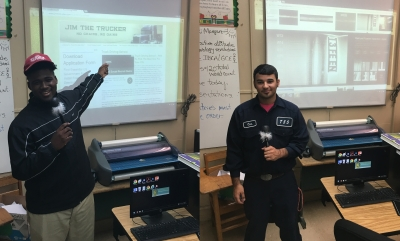 Treven Tibbs and Remi Williams presenting their career projects on Commercial Truck Driving and Welding X-Ray Technician